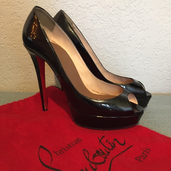 6651eacc459 Christian Louboutin Shoes - Christian Louboutin Black Patent Peep Pump